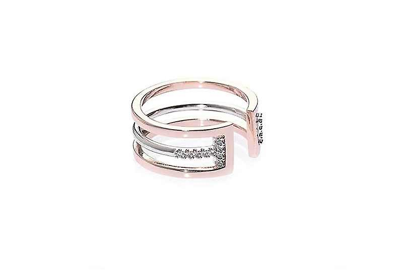 Two Tone Stackable Crossroads Ring Set, Gold and Silver Plated