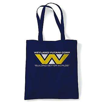 Weyland-Yutani Corp Tote | Action Adventure horror Sci-Fi thriller comedia Spy | Reutilizable de compras lona de algodón de largo manejado natural Shopper eco-friendly Fashion