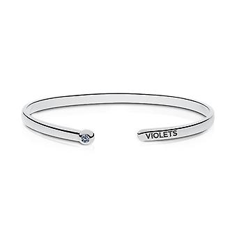 New York University Engraved Sterling Silver White Sapphire Cuff Bracelet