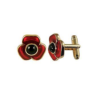 Eternal Collection Moda Red Enamel Poppy Gold Tone Cufflinks