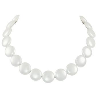 Ewige Sammlung Bloomsbury weiße Muschel Münze Perle Silber Ton Statement-Kette