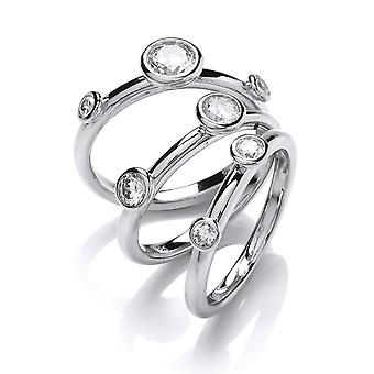 Jewelco London Ladies Rhodium Plated Silver white Round Brilliant cubic Zirconia Set of 3 Bubble Stacker Dress Ring