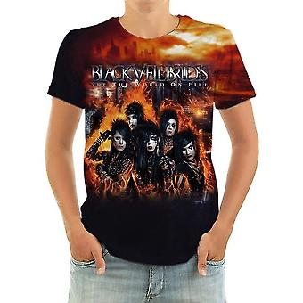 Born2rock-set de wereld op Fire-Black Veil Brides-mannen ' s t-shirt