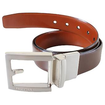 Ted Baker Bronsen Reversible Fixed Prong Belt - Chocolate/Tan