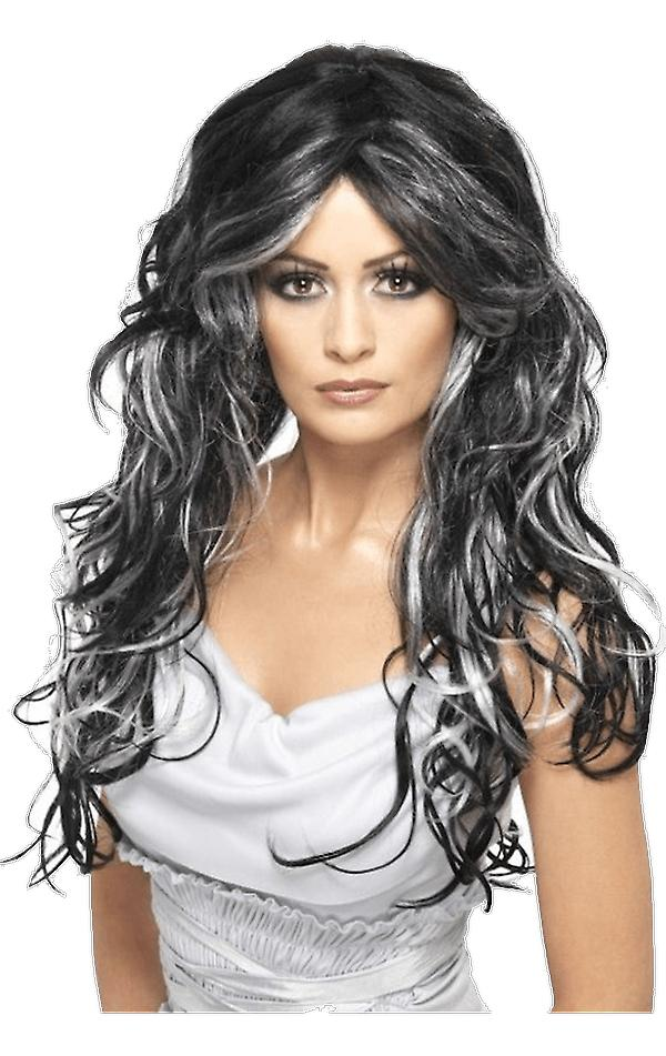 Womens Gothic Bride Wig Black and Grey Halloween Fancy Dress