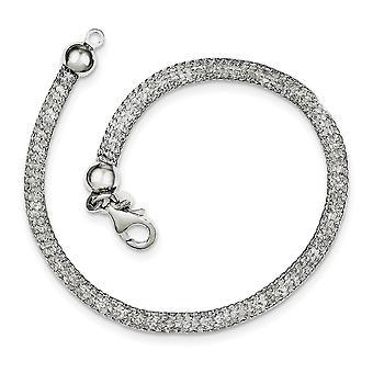 925 Sterling Silber Fancy Hummer Verschluss Mesh und Strass Kristall Armband 7,5 Zoll Schmuck Geschenke für Frauen