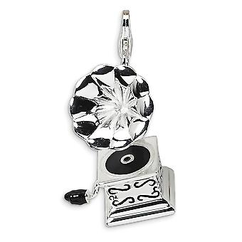 925 Sterling Silver Polished Rhodium plated Fancy Lobster Closure 3 D Enameled Phonograph With Lobster Clasp Charm Penda