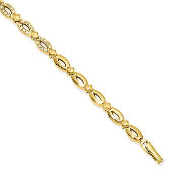 7 inch Gold-Flashed vak vangen sluiting markies vorm Cubic Zirconia armband