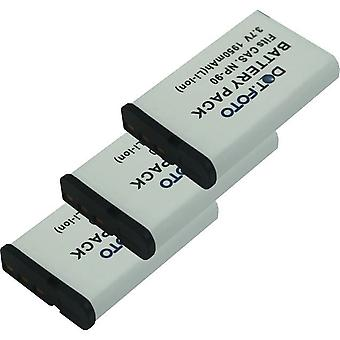 3 x Dot.Foto Casio NP-90 erstatningsbatteriet - 3,7 v / 1950mAh
