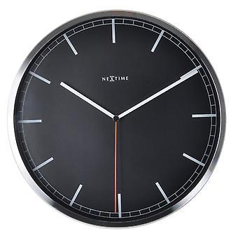 NeXtime - Wall clock – 35 x 4.2 cm – Aluminum - Black - 'Company Stripe'
