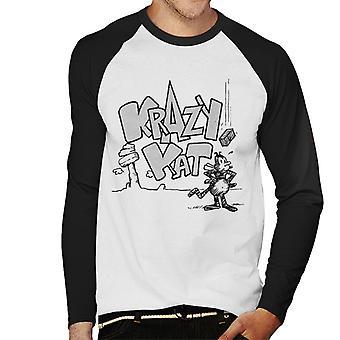 Krazy Kat Logo Brick Fall Men's Baseball Long Sleeved T-Shirt