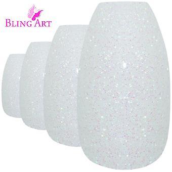 Falske negler av bling kunst white gel ballerina kisten 24 falske lenge akryl tips