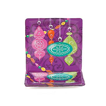 VENTE - 8 Jewel Tone Bauble Square Christmas Paper Party Plates