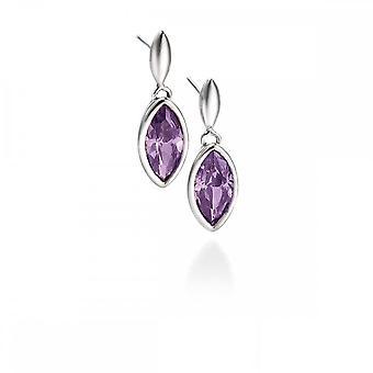 Fiorelli Silver Fiorelli Marquise Purple Cubic Zirconia Drop Earrings E3677M