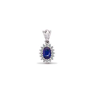 Jewelco London 9ct White Gold Cluster Set Round H I2 0.12ct Diamond and Oval Blue 0.56ct Sapphire Royal Cluster Pendant