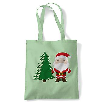 Cartoon Santa Claus Tree Tote | Christmas Xmas HoHoHo Season Greetings Merry | Reusable Shopping Cotton Canvas Long Handled Natural Shopper Eco-Friendly Fashion