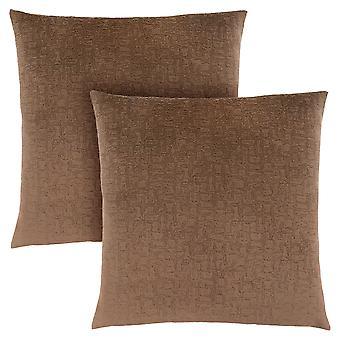 "18"" x 18"" Light Brown, Mosaic Velvet - Pillow 2pcs"