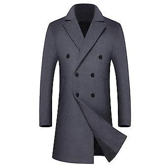 Allthemen Men's Solid Lapel Mid-Length Casual Coat DoppioPetto Outwear Long Overcoat