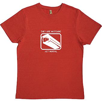 They Are Watching: Act Normal Red 100% Recycled T-Shirt
