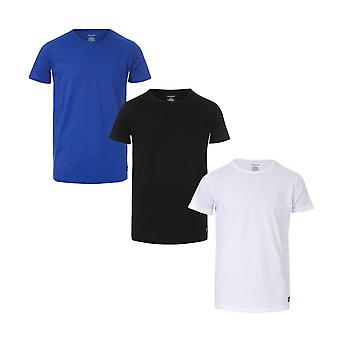 Mens Lyle And Scott Maxwell 3 Pack T-Shirts In Black Blue- Clean Design- Ribbed