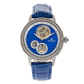 Keizerin Tatiana automatische semi-skelet lederen-Band horloge - blauw