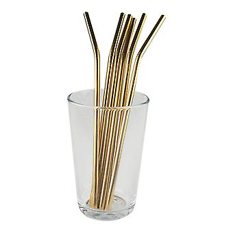 6x curved metal Straw-gold