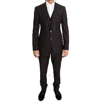 Dolce & Gabbana Purple Wool Silk Slim Fit Two Button Suit