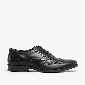 Hush Puppies Oaken Mens Leather Brogue Shoes Black