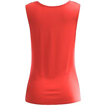 AMORE ALLFY Women's Ruched Sleeveless Blouse, Atpsr004_coral, Size XXX-Large
