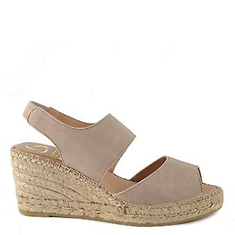 Kanna Ania Taupe Suede Esapdrille Wedge Sandal