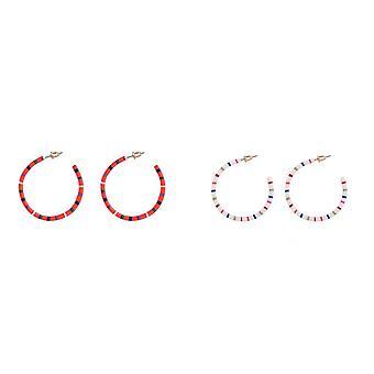 Jewelcity Sunkissed Womens/Ladies Dash Line Hoop Earrings