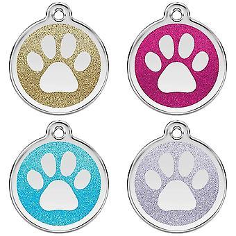 Red Dingo Halsband Haustier Glitter Erkennungsmarke - Paw Print