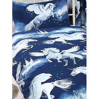 Marinblå Stardust Unicorn 4 i 1 junior sängkläder bunt set