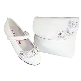 Girls white flower girl ballerinas and bag with butterfly trims
