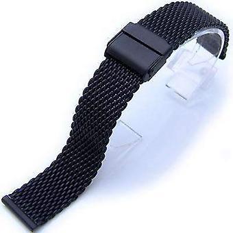 Bracelet de montre Strapcode 18mm verrouillage mat tapis plongeurs en maille noire regarder bracelet de bande