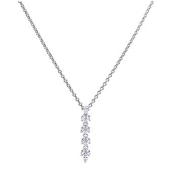 Diamonfire Silver & White Zirconia Vine Drop Pendant
