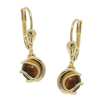 Brisur 23x7mm earring Pearl Tiger eye wrapped 8Kt GOLD