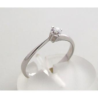 خاتم ذهبي أبيض مع الزركونيا المسيحية