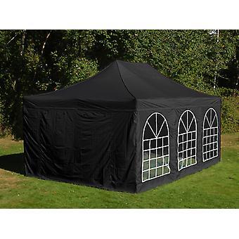 Tente Pliante FleXtents Steel 4x6m Noir, avec 4 cotés