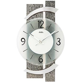 AMS 9548 wall clock kvartsi analoginen moderni luonnonkiveä näyttää lasi ja alumiini