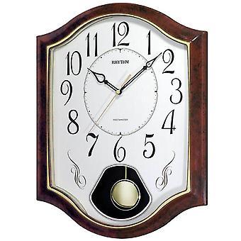 Rhythm 7494/20 Wall clock Quartz with pendulum brown pendulum clock with melody