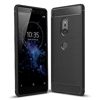 Sony Xperia XZ2 TPU case carbon fiber optics brushed protective case black