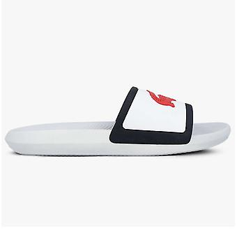 Lacoste Croco Slide Mens Summer Beach Holiday Flip Flop Slide White/Navy/Red