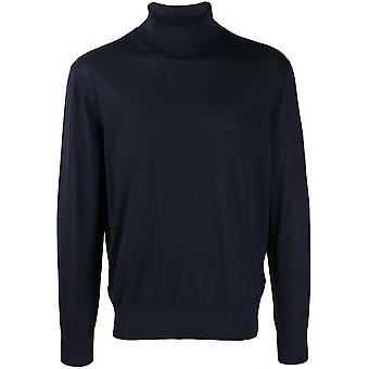 Navy Turtleneck Wool Sweater