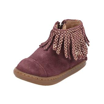 Shoo Pom Bouba Fringe Kids Girls Boots Red Lace-Up Boots Winter