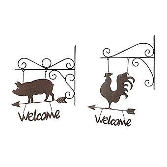 Set of 2 Country Farmhouse Rooster and Pig Wall Mount Hanging Welcome Signs With Brackets