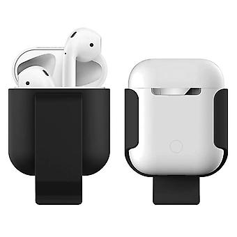 AirPods Hard Protective Case Belt Clip Attachment Soft Touch Finish- Noir