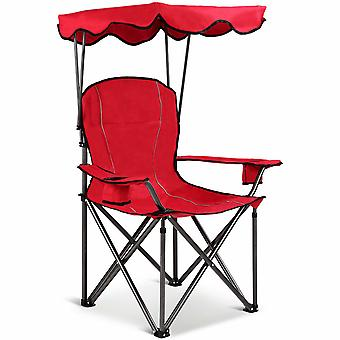 Camp Chairs with Shade Canopy Chair Folding Camping Cup Holder Portable Beach