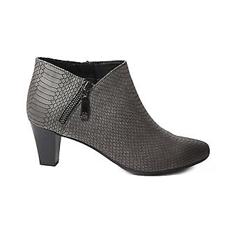 Gerry Weber Lena 07 Grey Leather Womens Wide Fit Heeled Enkel boots