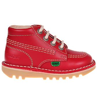 Kickers Kick Hi Leather Infant Toddler Kids School Shoe Boot Red